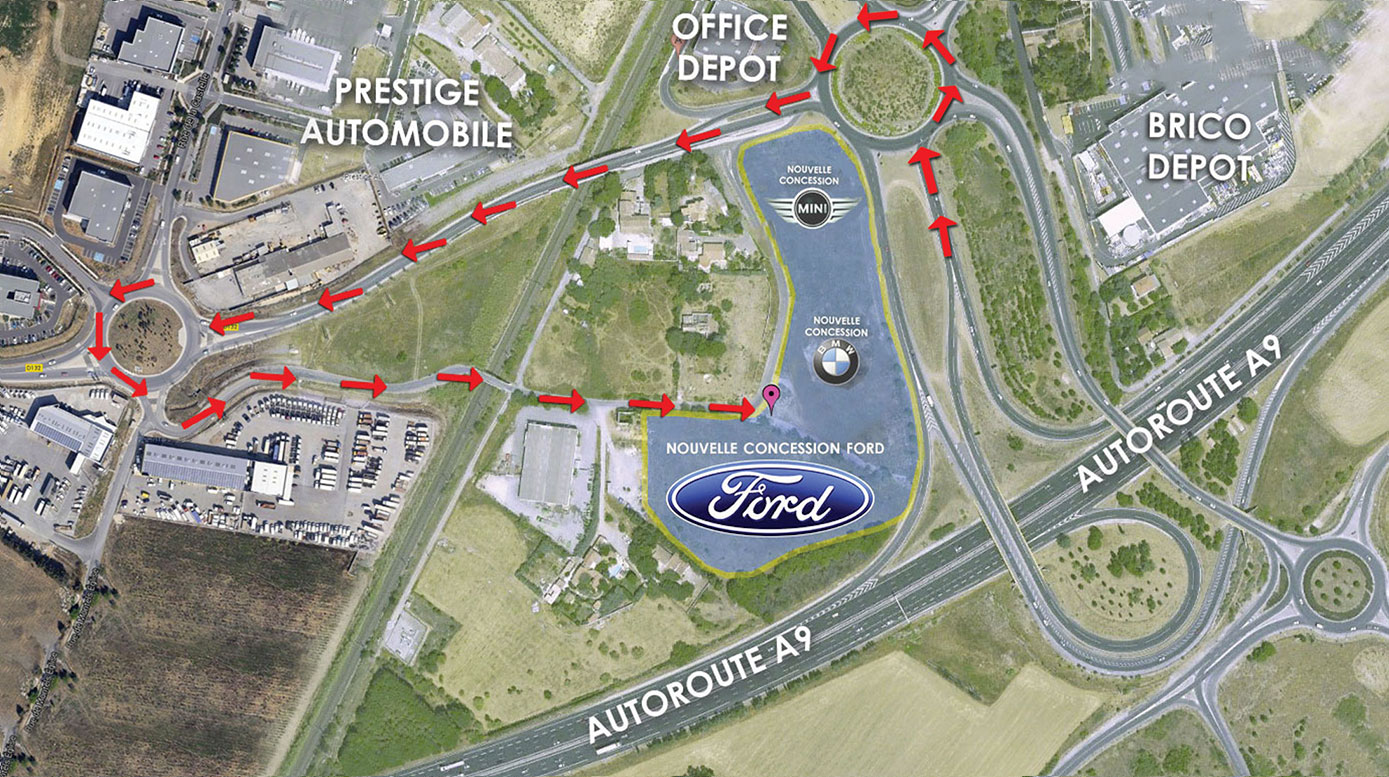 PLAN D'ACCES ford montpellier