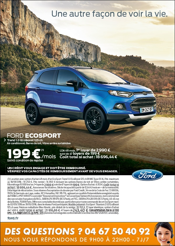 ford ecosport a 199 mois sans condition de reprise ford grim auto savab saval. Black Bedroom Furniture Sets. Home Design Ideas