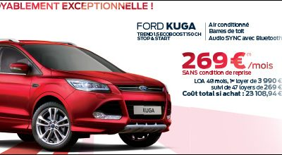 FORD KUGA: 269€/MOIS SANS CONDITION DE REPRISE
