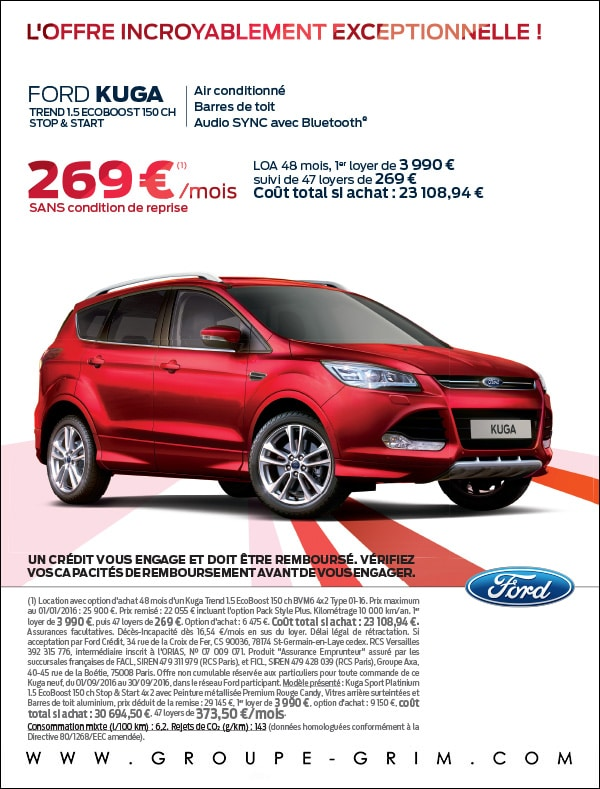 ford kuga 269 mois sans condition de reprise ford grim auto savab saval fordstore. Black Bedroom Furniture Sets. Home Design Ideas