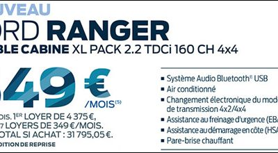 L'OFFRE ENTREPRISE : NOUVEAU FORD RANGER  A 349€HT/MOIS