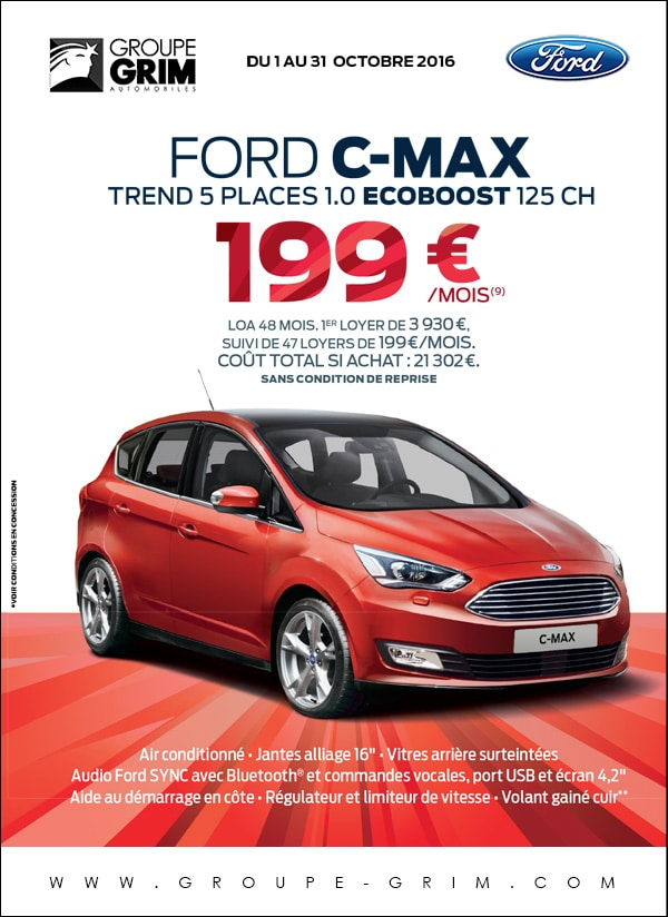 Ford c max 1 0 ecoboost 125ch 199 mois ford grim for Garage ford saval valence