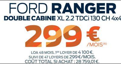 Ford Ranger à 299€/mois sans condition de reprise