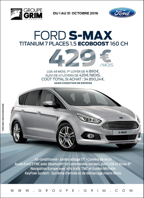 ford s max titanium 7 places 429 mois ford grim auto savab saval fordstore ford rodez. Black Bedroom Furniture Sets. Home Design Ideas