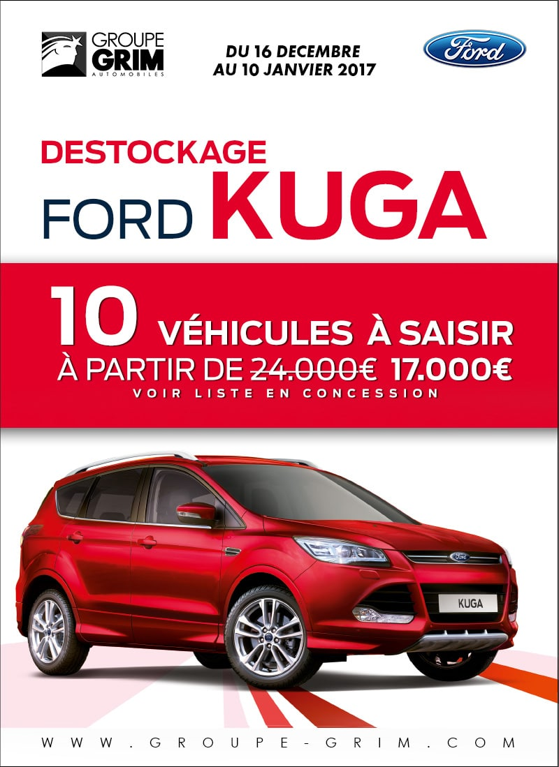 destockage ford kuga 10 v hicules a saisir ford grim. Black Bedroom Furniture Sets. Home Design Ideas
