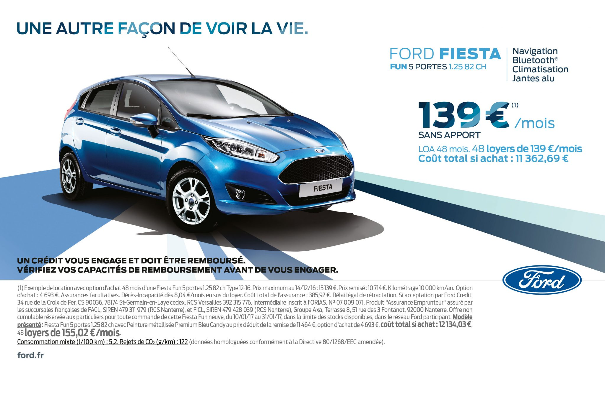 la ford fiesta fun 5 portes 82 ch est 139 mois. Black Bedroom Furniture Sets. Home Design Ideas