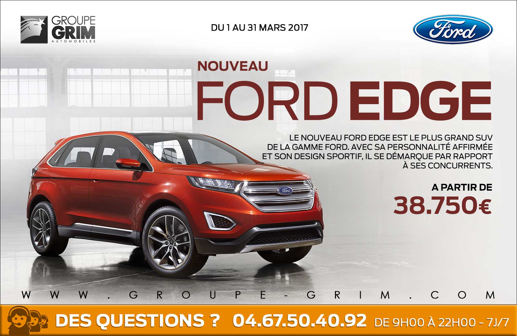 Nouveau ford edge partir de ford grim auto for Garage ford saval valence