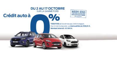 Crédit auto à 0% sur la gamme Ford
