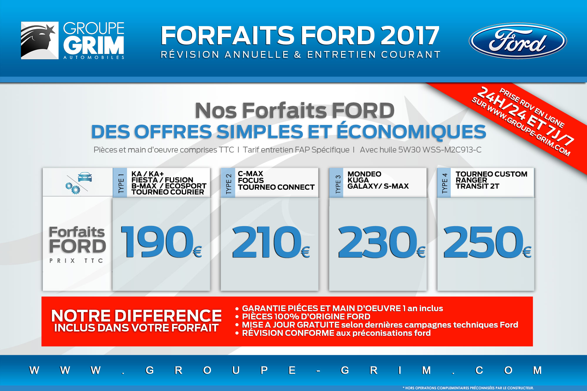 Forfaits ford 2017-Tarif-Revision-2017