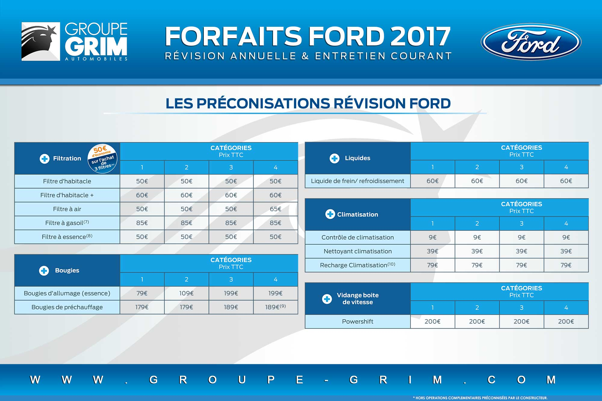 tarifs pi ces et main d uvre ford 2017 ford grim auto. Black Bedroom Furniture Sets. Home Design Ideas