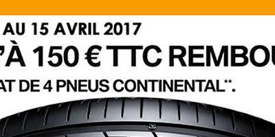 PNEU CONTINENTAL : JUSQU'A 150€TTC REMBOURSES