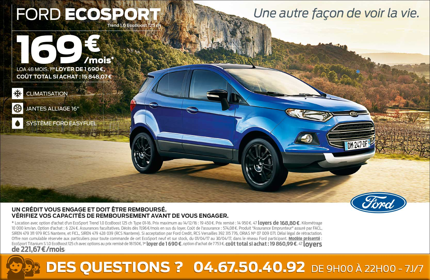 Ford ecosport a 169 mois ford grim auto savab for Garage ford saval valence