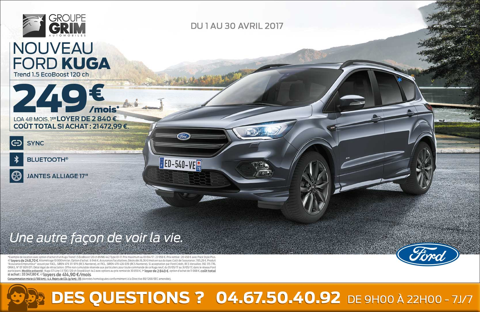 nouveau ford kuga a 249 mois ford grim auto savab saval fordstore ford rodez. Black Bedroom Furniture Sets. Home Design Ideas