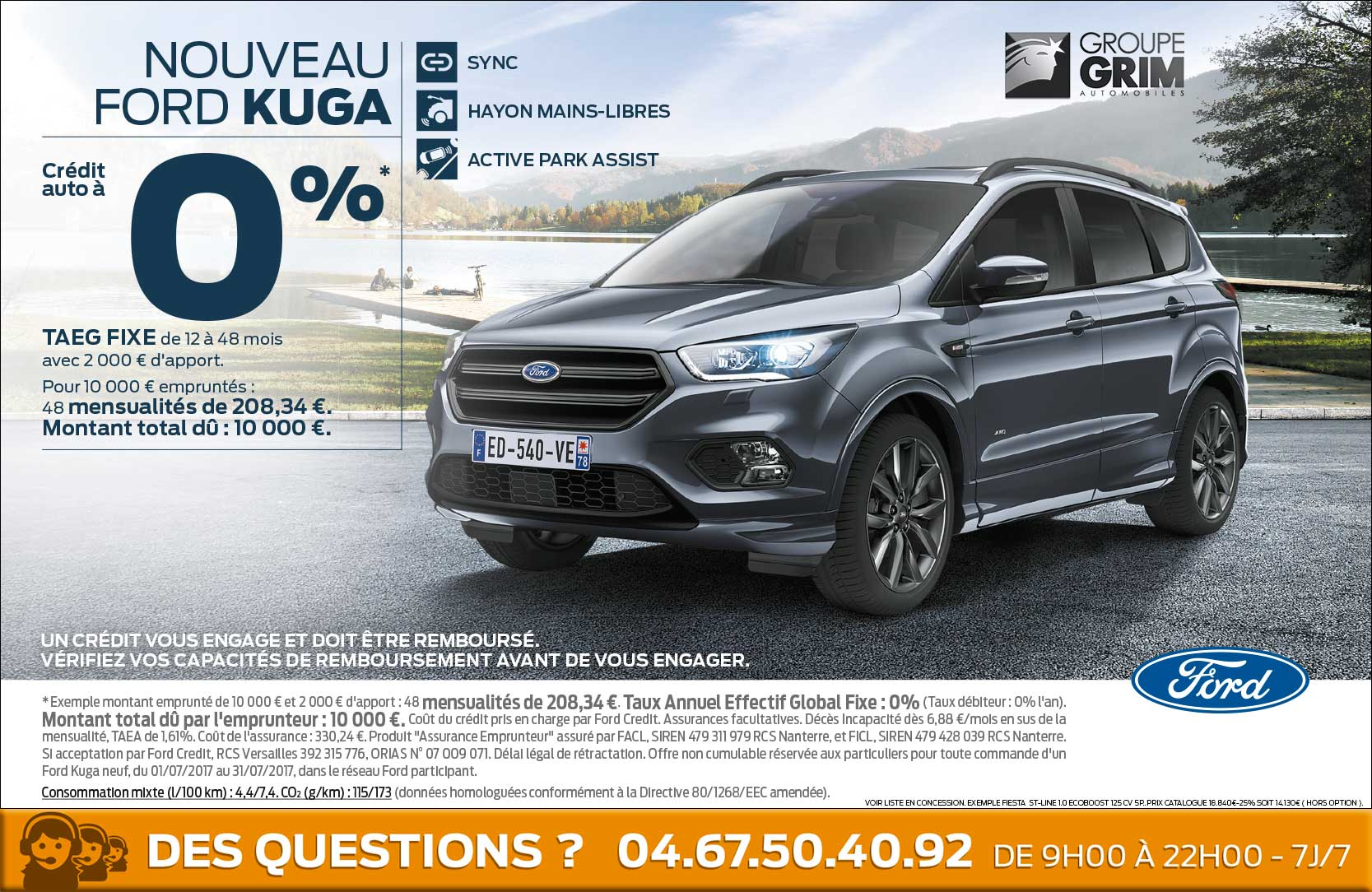 nouveau ford kuga credit auto a 0 ford grim auto savab saval fordstore. Black Bedroom Furniture Sets. Home Design Ideas