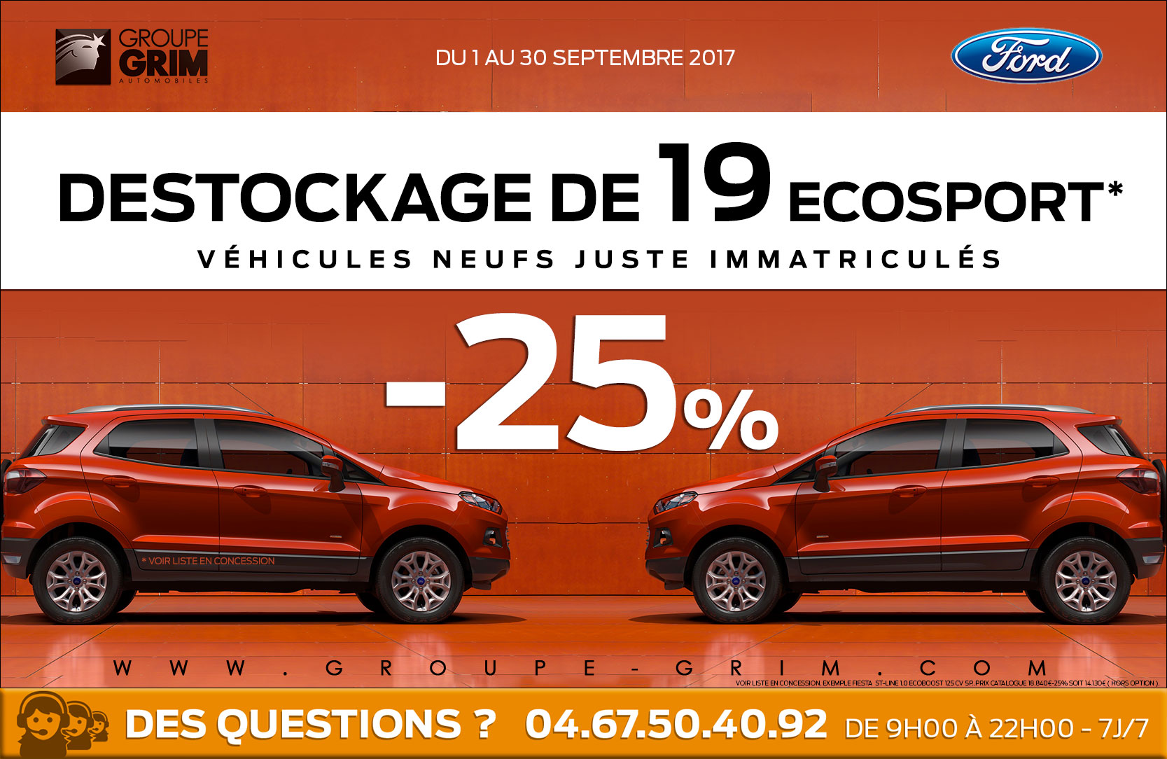 Destockage 25 sur 19 ecosport ford grim auto for Garage ford saval valence