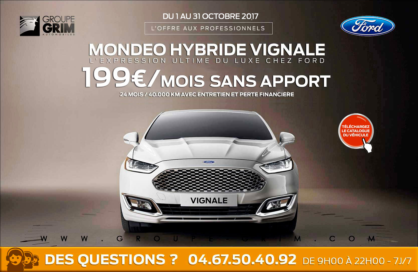 Mondeo hybride vignale a 199 mois sans apport ford for Garage ford saval valence