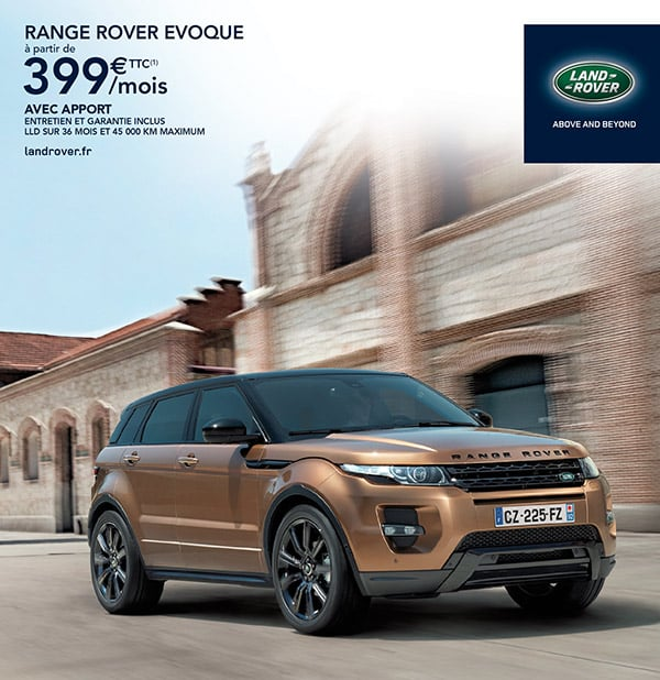 le range rover evoque partir de 399 mois avec entretien. Black Bedroom Furniture Sets. Home Design Ideas