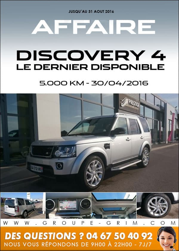 affaire dernier discovery 4 jaguar montpellier land rover montpellier land rover n mes. Black Bedroom Furniture Sets. Home Design Ideas