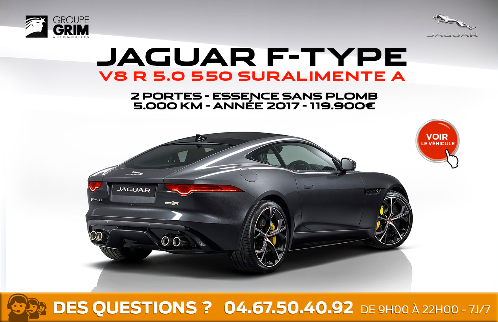 jaguar f type v8 550 pr te partir jaguar montpellier land rover montpellier land rover. Black Bedroom Furniture Sets. Home Design Ideas