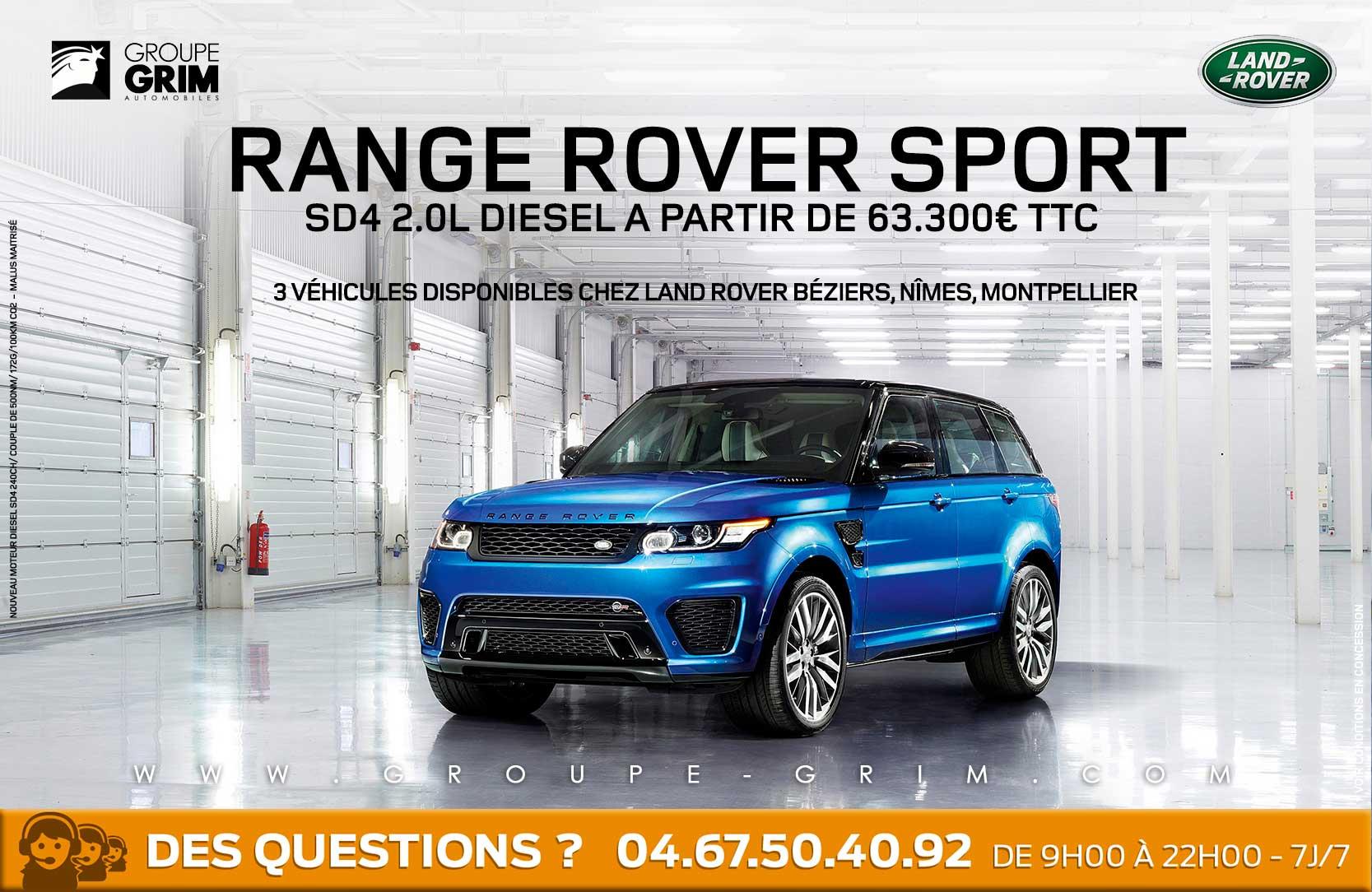 range rover sport sd4 2 0l diesel disponible jaguar montpellier land rover montpellier land. Black Bedroom Furniture Sets. Home Design Ideas
