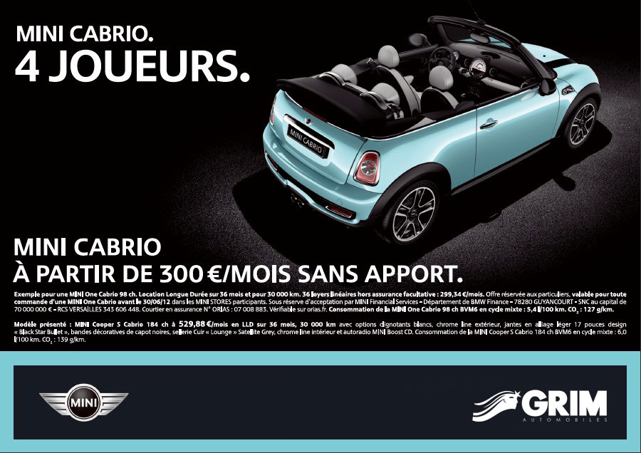 mini cabrio 300 mois sans apport mini montpellier grim passion. Black Bedroom Furniture Sets. Home Design Ideas