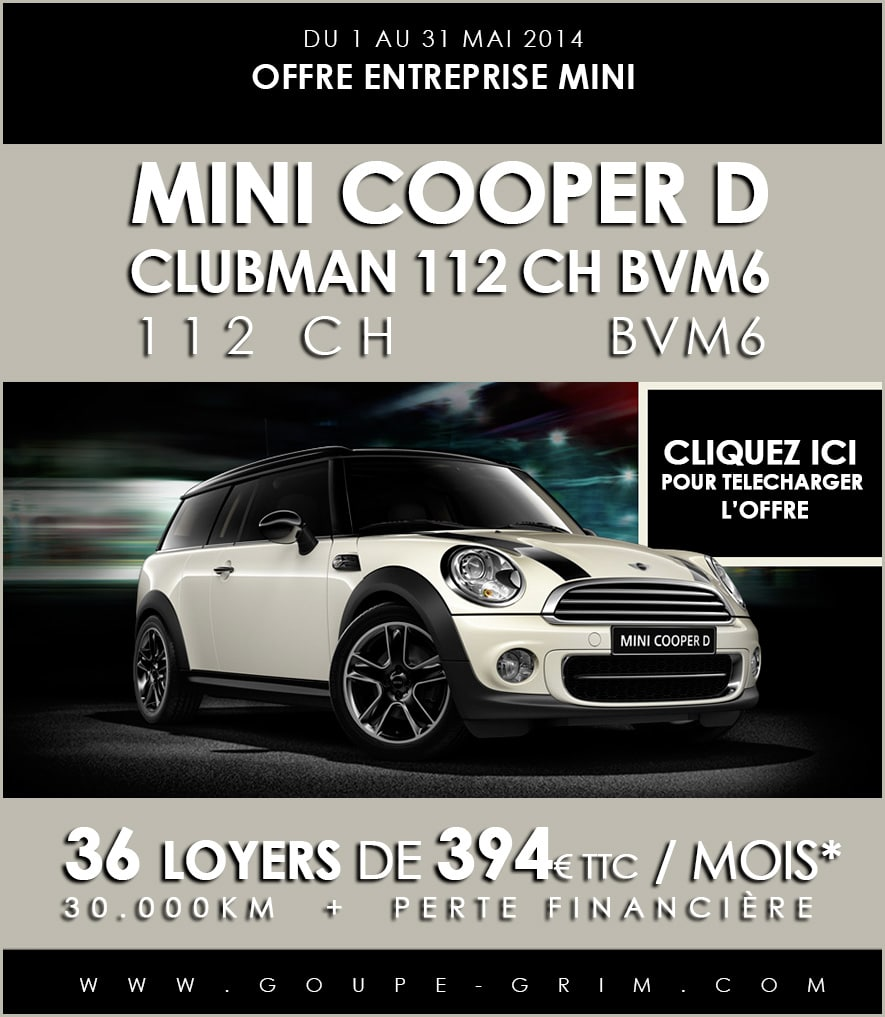 offre entreprise mini la mini cooper d clubman 112 ch bvm6. Black Bedroom Furniture Sets. Home Design Ideas