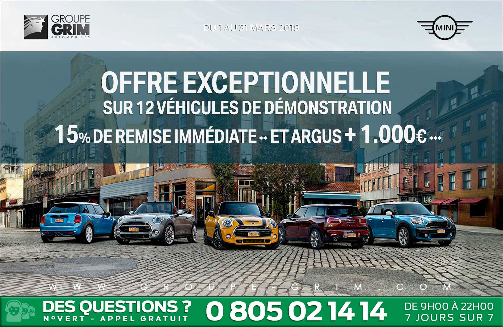offre exeptionnelle sur 12 vehicules de demonstration mini montpellier grim passion. Black Bedroom Furniture Sets. Home Design Ideas